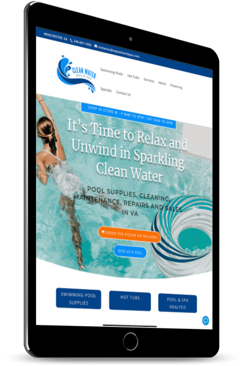 Clean Water Pools website on tablet