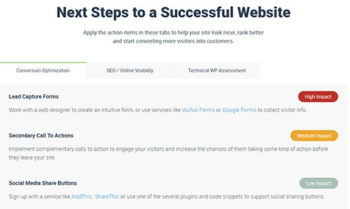 web audit next steps