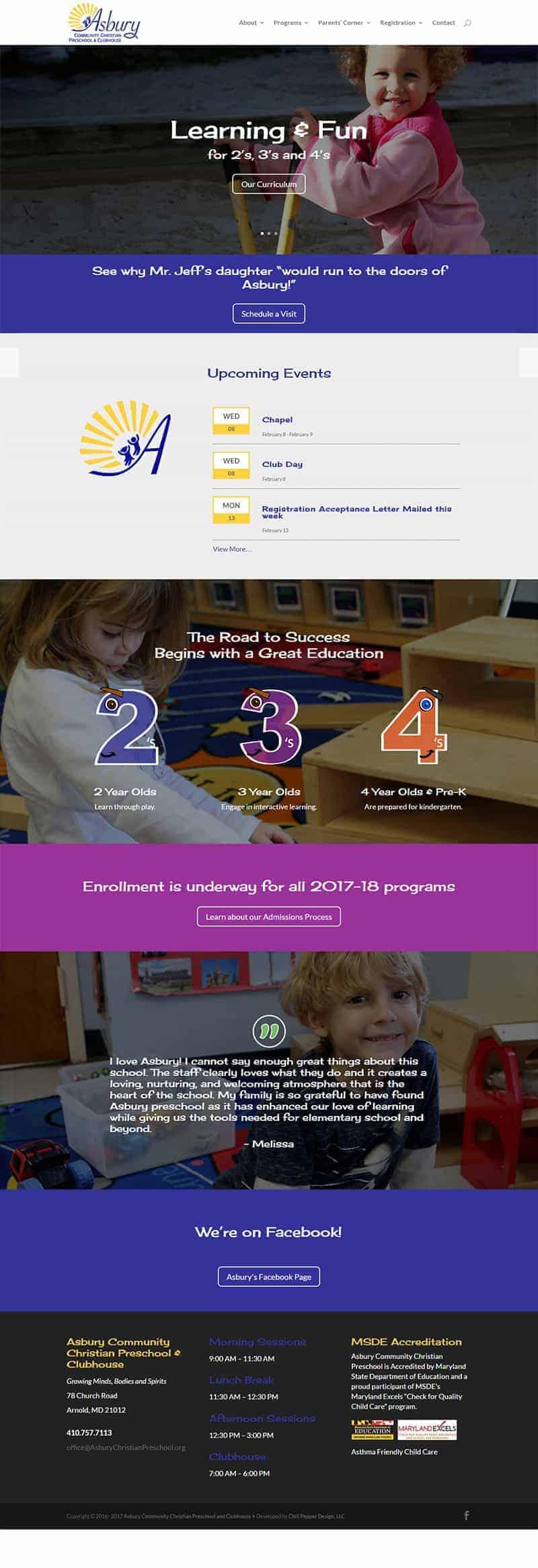 preschool website design
